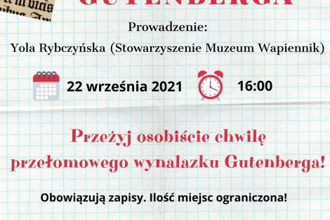 """plakat ,,W pracowni Gutenberga"""""""