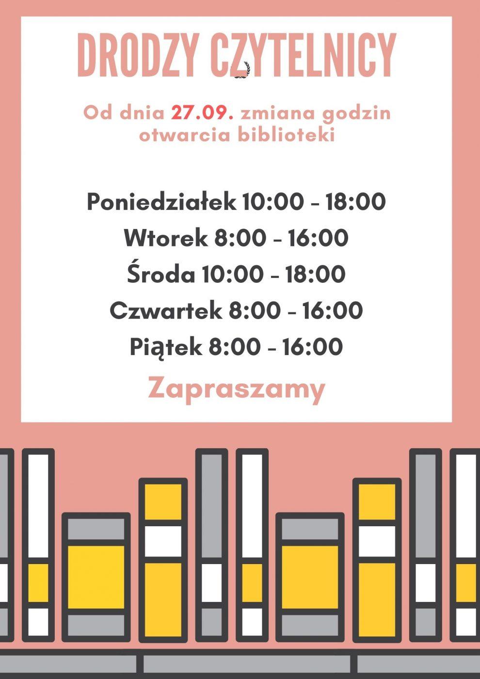 Godziny otwarcia biblioteki - plakat
